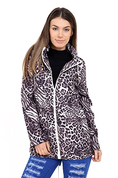 SheLikes - Chaqueta - para Mujer Grey Animal Print: Amazon ...