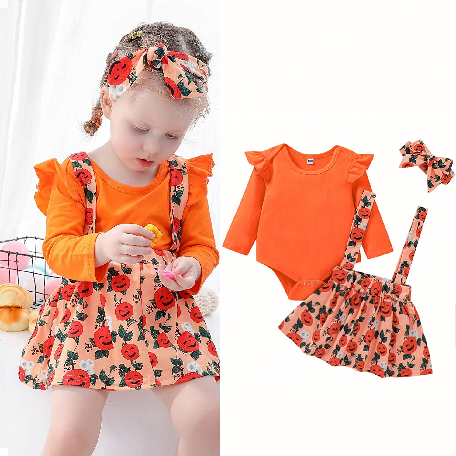 Halloween Toddle Infant Baby Girl Clothes Ruffle Romper Top Suspender Pumpkin Skirt Outfit Set with Headband 3Pcs Set /…