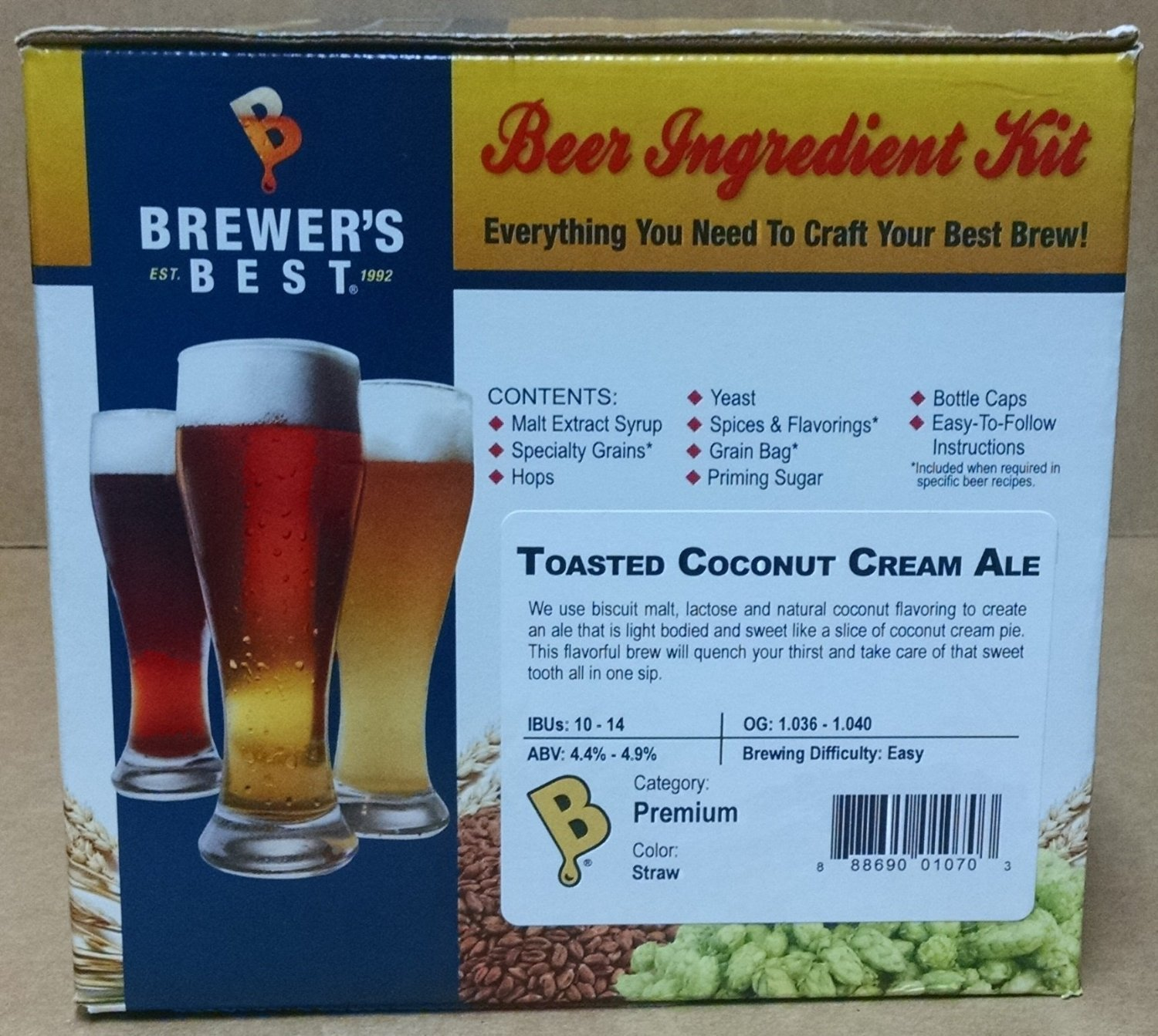 Amazon brewers best home brew beer ingredient kit 5 gallon amazon brewers best home brew beer ingredient kit 5 gallontoasted coconut cream ale grocery gourmet food sciox Image collections