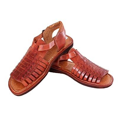 fe1f176dffa5 Men s 451 Rustic Cognac All Real Leather Mexican Buckle Huaraches Open Toe