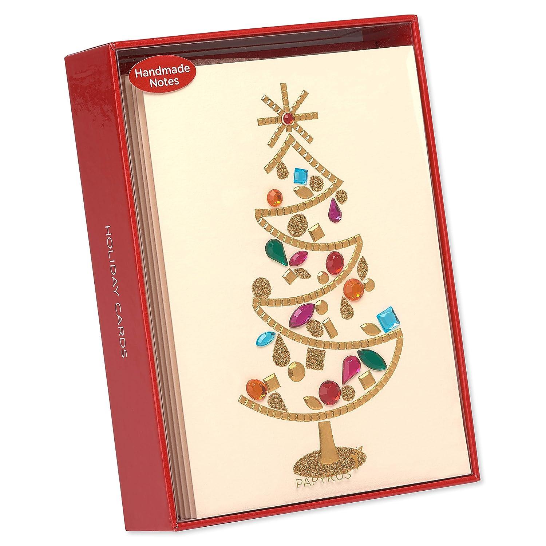 Amazon.com : Papyrus Gem Christmas Tree Christmas Cards Boxed with ...