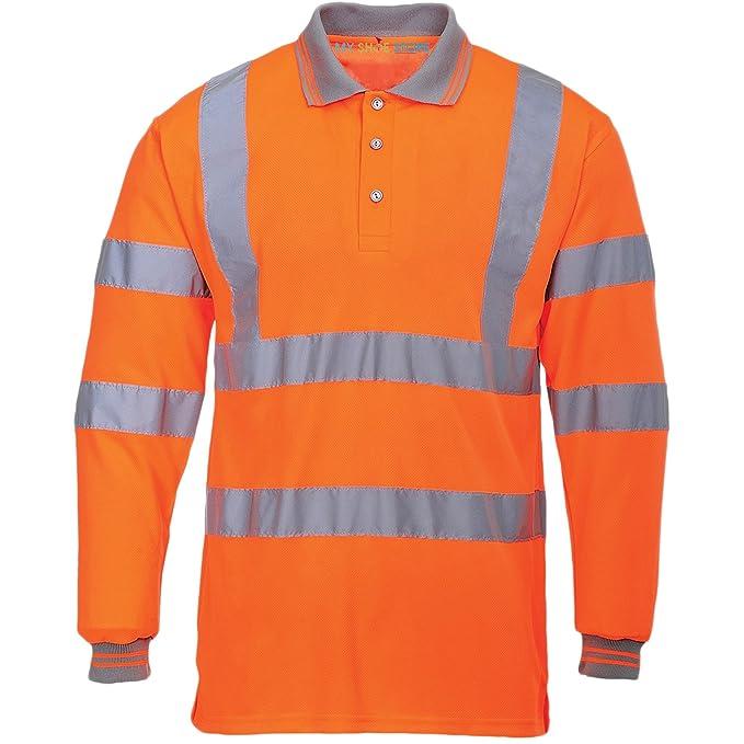 MyShoeStore Hi Viz Vis High Visibility Polo Shirt Reflective Tape Safety  Security Work Button T- 209733f1b