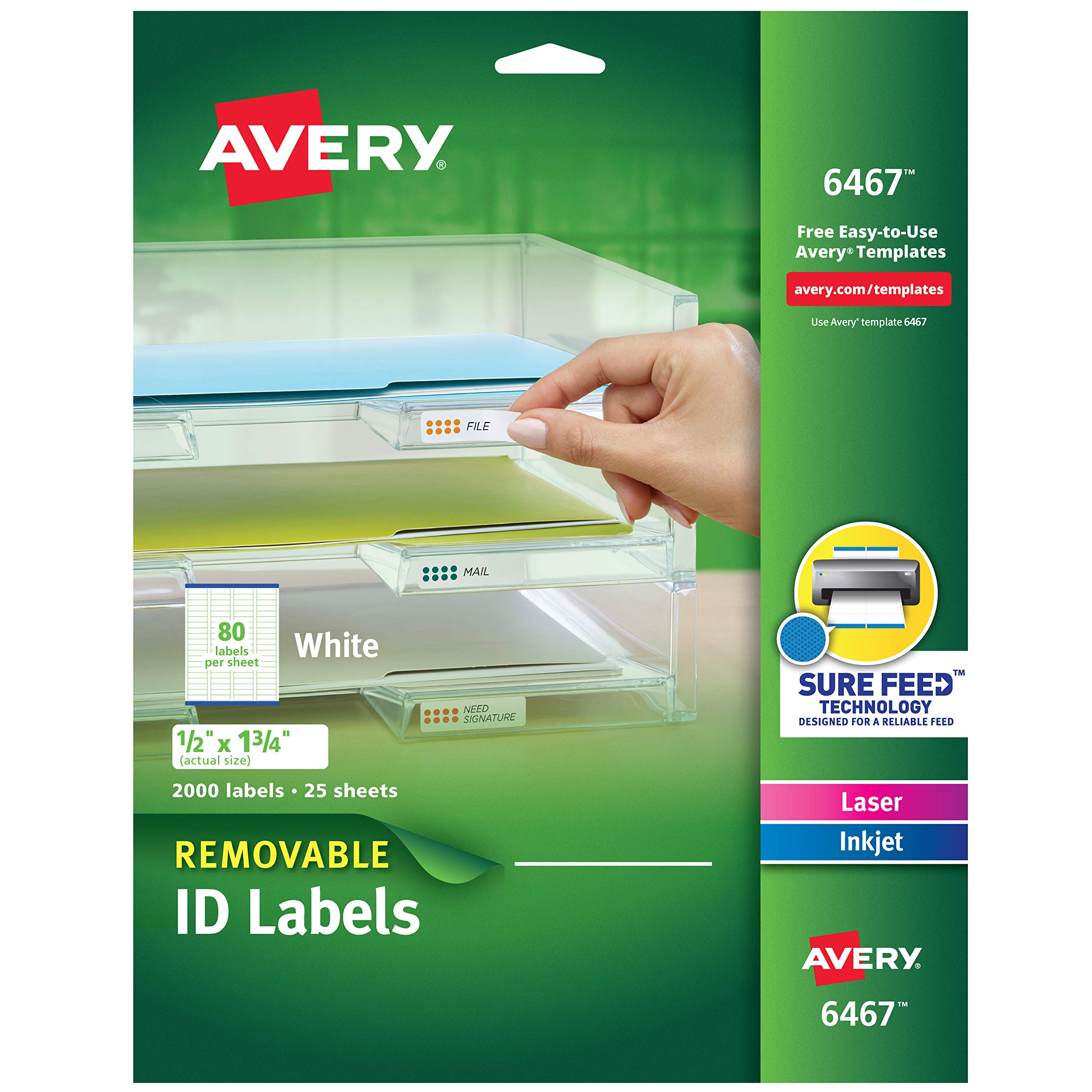 Avery Self-Adhesive White Removable Laser Id Labels, 1/2'' x 1-3/4, 2000 per Pack (6467) by AVERY