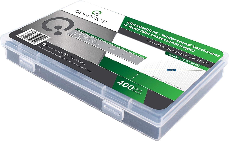QUADRIOS GmbH Resistors Assortment Set 400 Pieces Metal Film Resistors 0.5 W Wired 1 Ohm Data Techn 1 MOHM Assortment Box 20 Standard Tolerance 1/% Incl