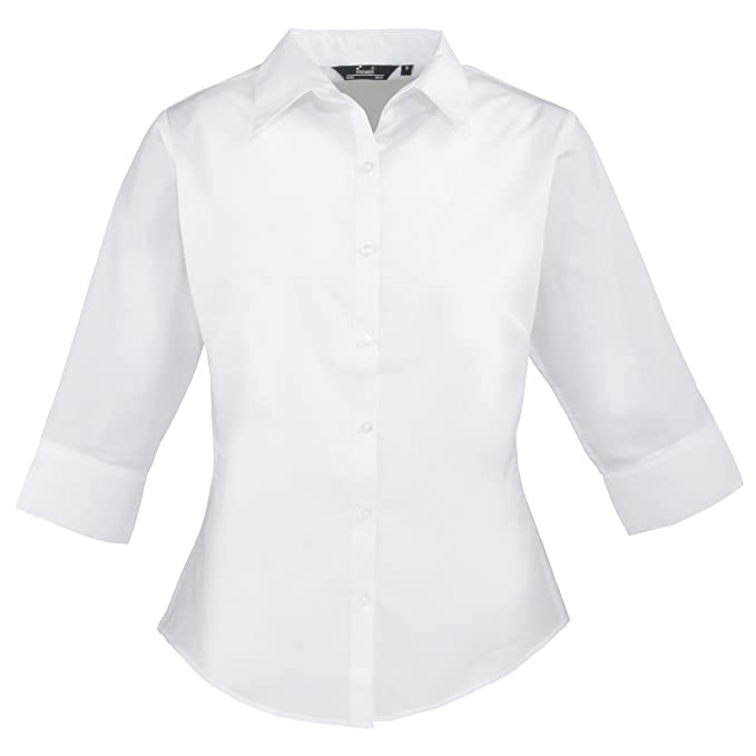 e9382d41d Ladies 3/4 Sleeve Poplin Blouse: Amazon.co.uk: Clothing