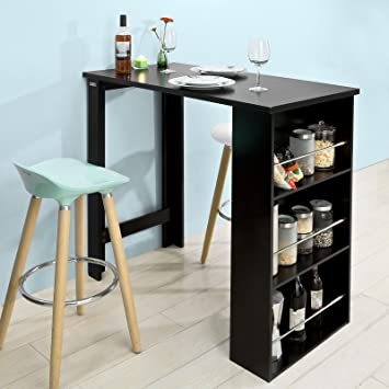 sobuy fwt17 sch table de bar mange debout table haute de cuisine avec 3