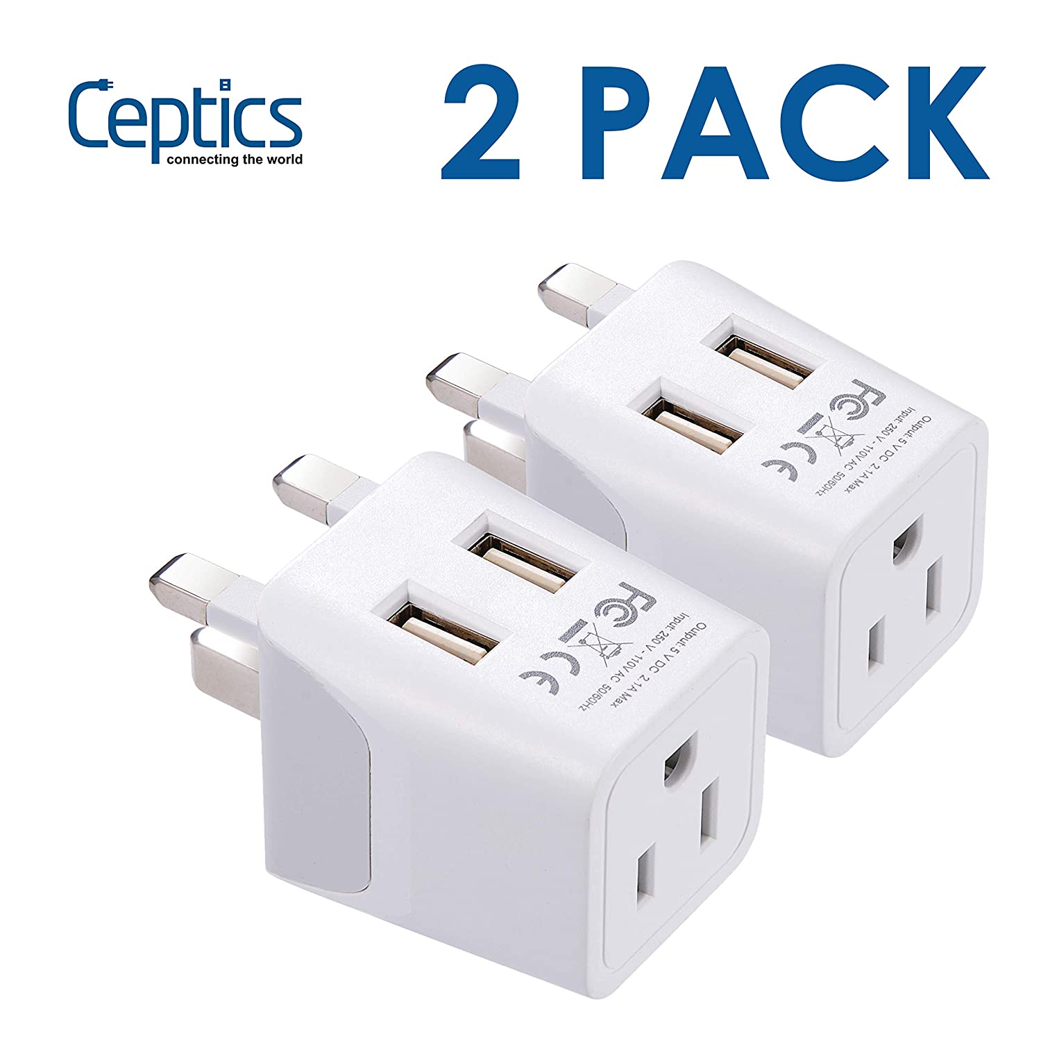 UK, Hong Kong, CTU-7-2PK Ireland Travel Adapter Plug by Ceptics with Dual USB - Type G - London - USA Input - Light Weight - Perfect for Cell Phones, Chargers, Cameras and More - 2 Pack