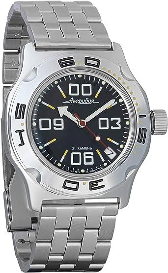 Vostok Amphibian - Reloj de pulsera automático para hombre, diseño militar de buzo anfibia, caja #100842: Amazon.es: Relojes