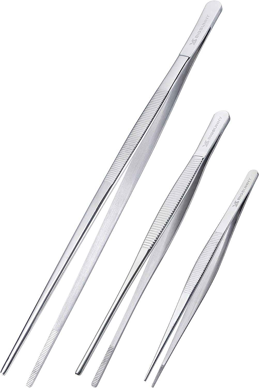 BIGSUNNY Stainless Steel Food Tweezers Set of 3, Precision Serrated Tips Food Tongs (6.5