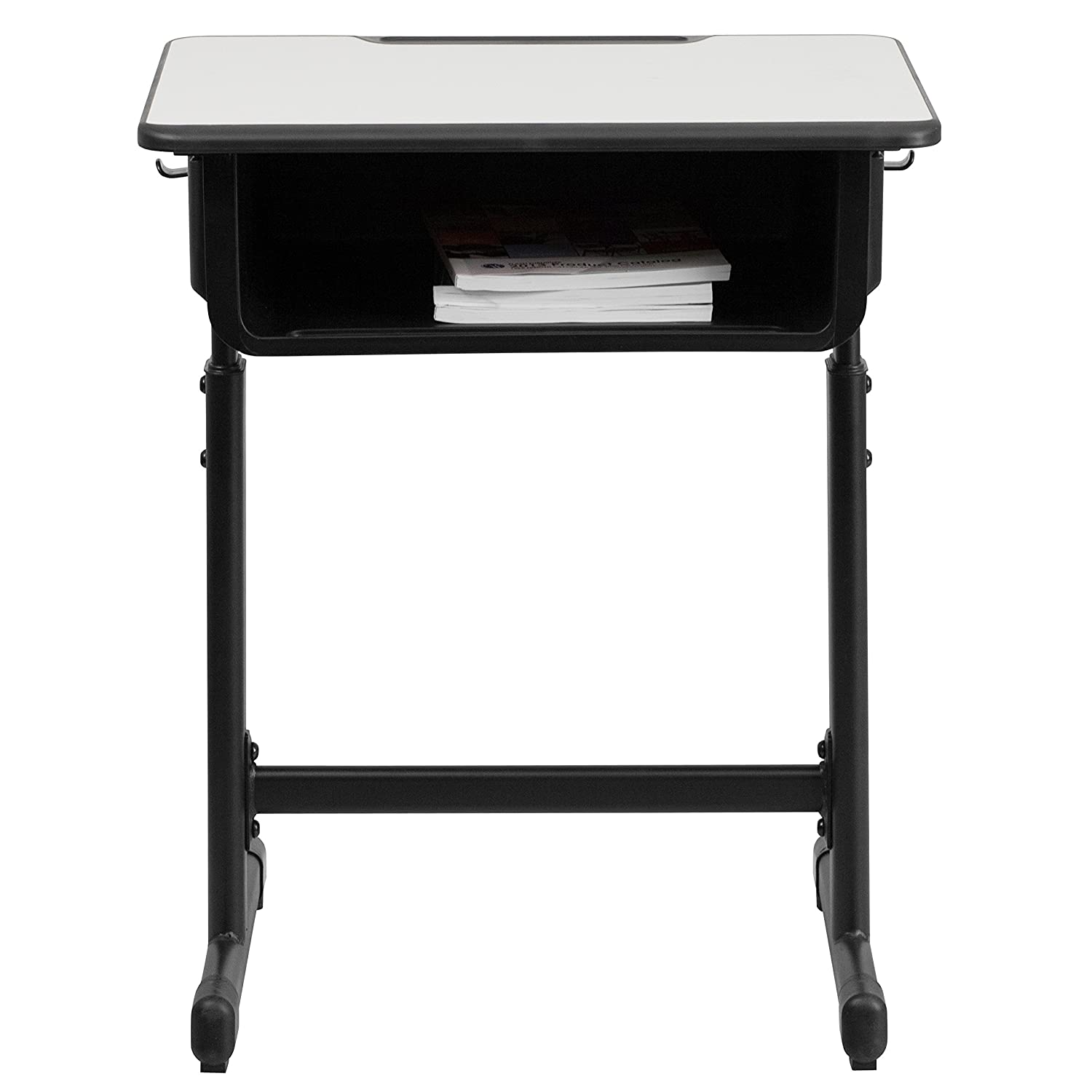 Amazon.com: Flash Furniture Student Desk With Grey Top And Adjustable  Height Black Pedestal Frame: Kitchen U0026 Dining