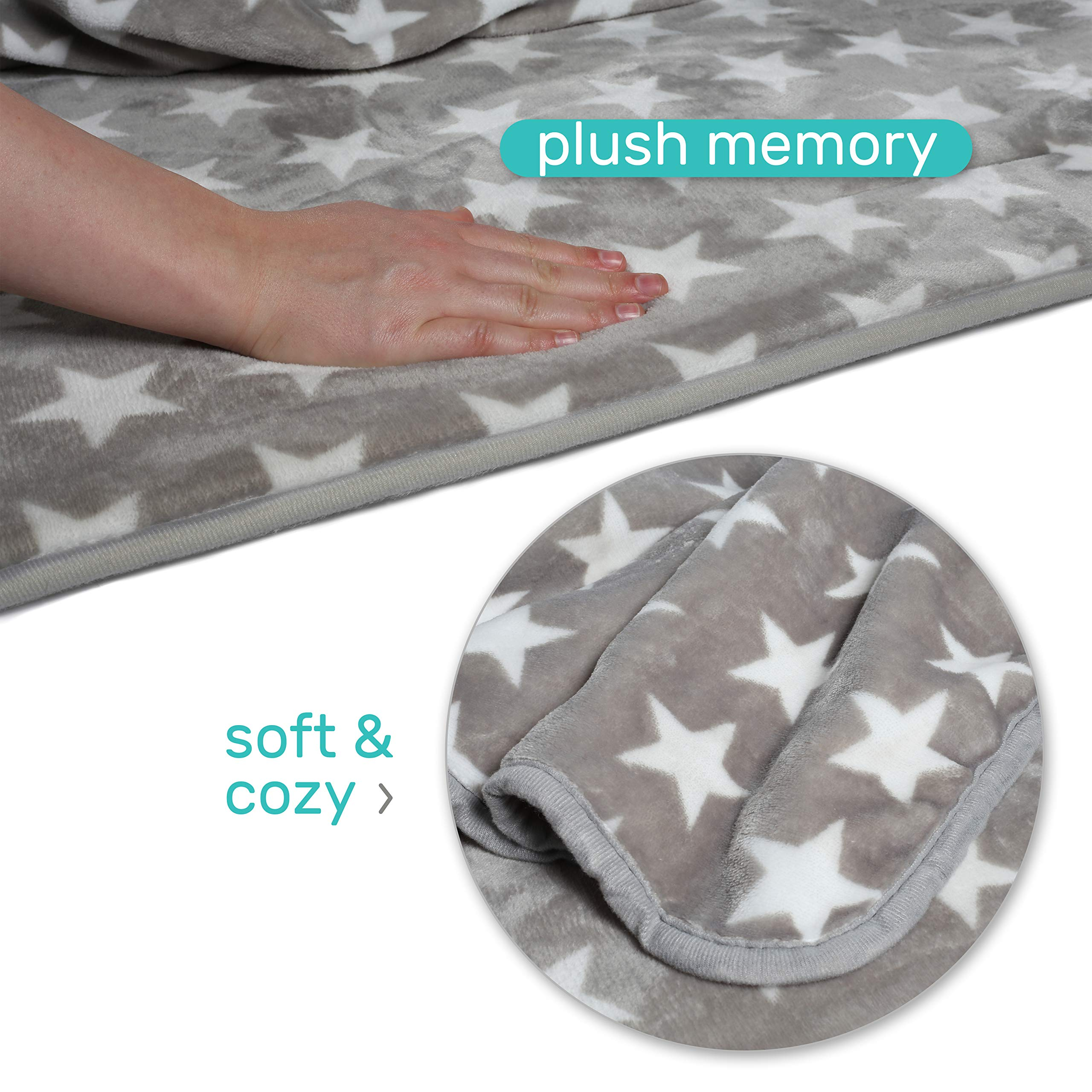 Milliard -Memory Foam- Nap Mat Roll Stars with Fuzzy Blanket and Removable Pillow, Machine Washing for Toddler Daycare Preschool Kindergarten and Sleepovers by Milliard (Image #5)