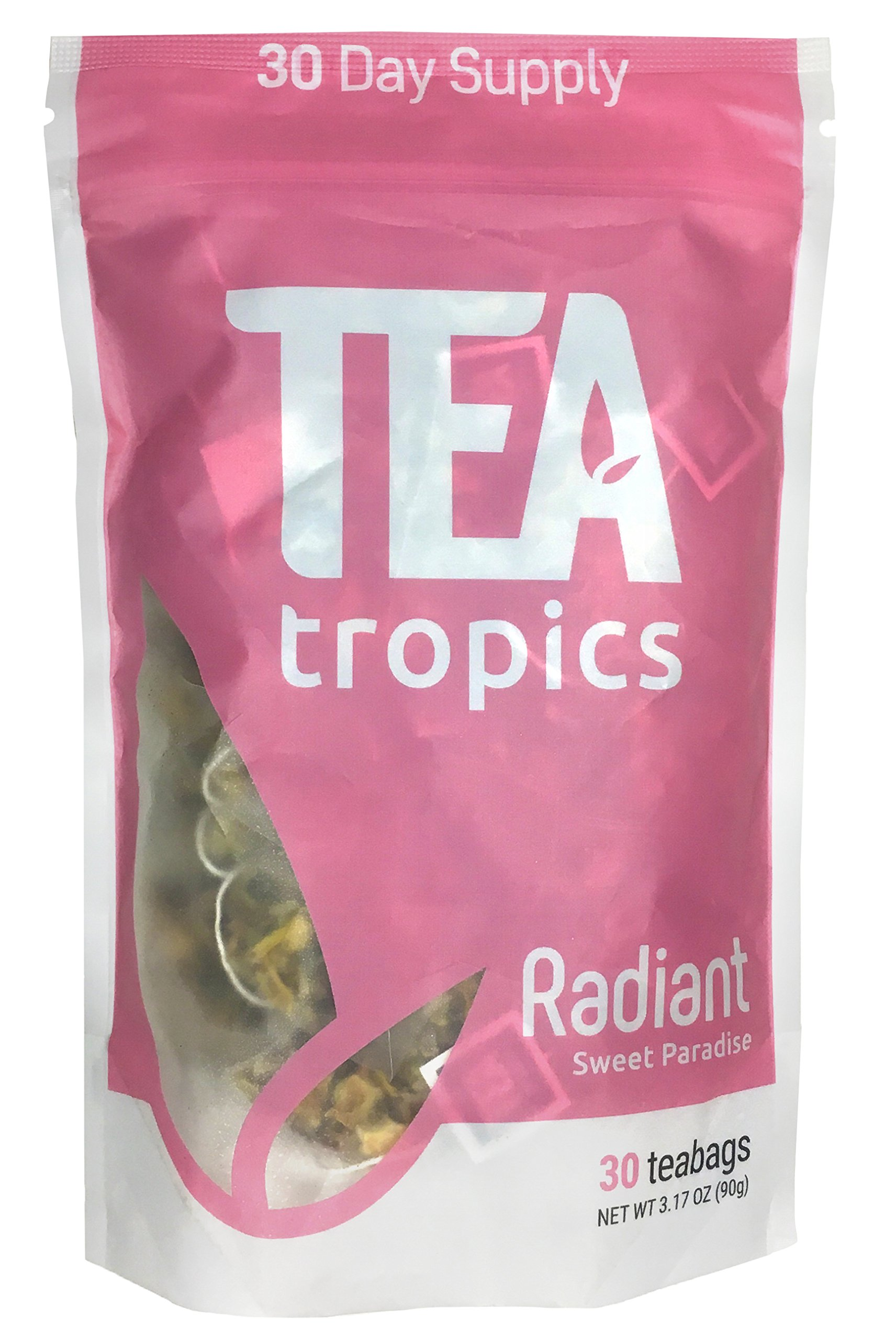 Radiant Skin Detox Tea 30 Day Cleanse -Healthy Herbal Tea for Detoxifying Your Skin -Maximum Cleansing Fight Acne & Eczema -Brew Hot or Iced -Great Sweet Paradise Taste & Smell -by Tea Tropics