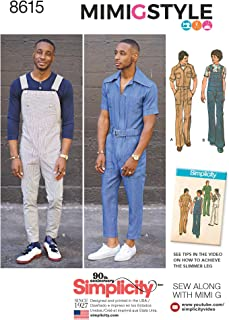 product image for Simplicity US8615AA Men's Overalls and Jumpsuit Sewing Patterns by Mimi G Style, Sizes 34-42