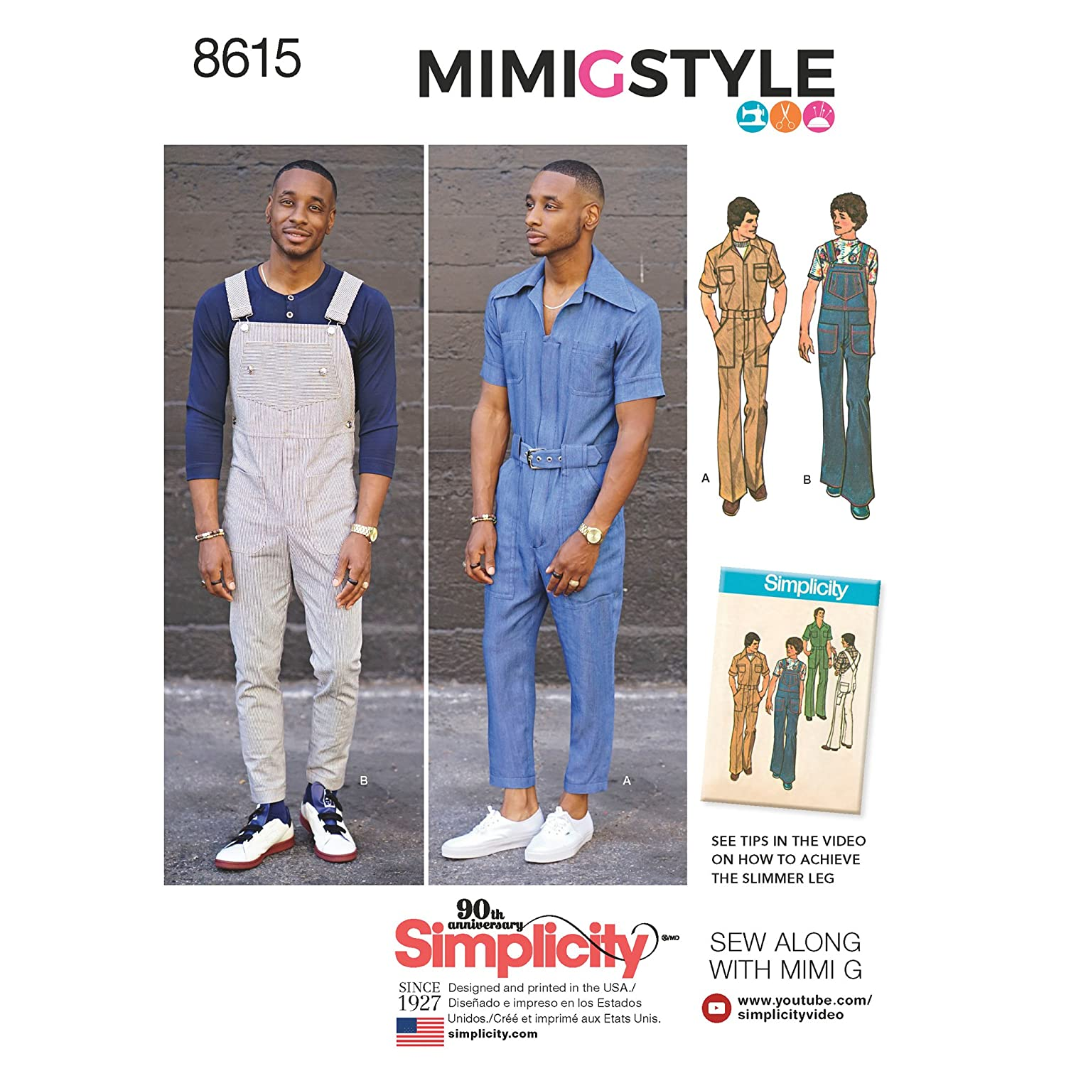 Men's Vintage Reproduction Sewing Patterns Simplicity Vintage US8615AA Vintage Jumpsuit & Overalls AA (34-36-38-40-42) $8.89 AT vintagedancer.com