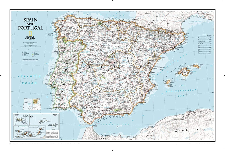 National Geographic: Mapa de pared clásico de España y Portugal - 83,8 x 55,8 cm - Impresión de calidad artística: Amazon.es: Hogar