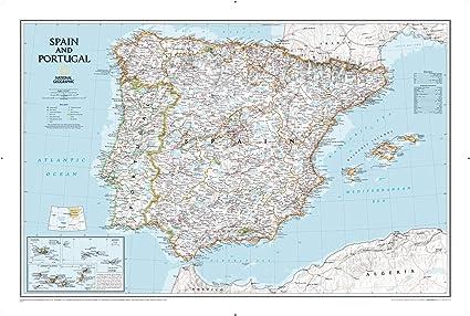Portogallo E Spagna Cartina.National Geographic Cartina Da Parete Classica Della Spagna E Del Portogallo 83 8 X 55 9 Cm Amazon It Casa E Cucina