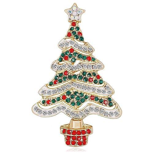 Jewelry Christmas Trees.Amazon Com Jewelry Christmas Brooch Pins Set Holiday Brooch