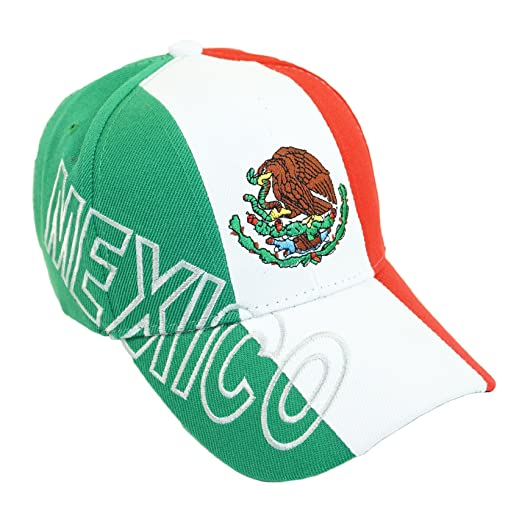 19def979 Mexico Flag Eagle Embroidery Hat Adjustable Three Color Baseball Cap