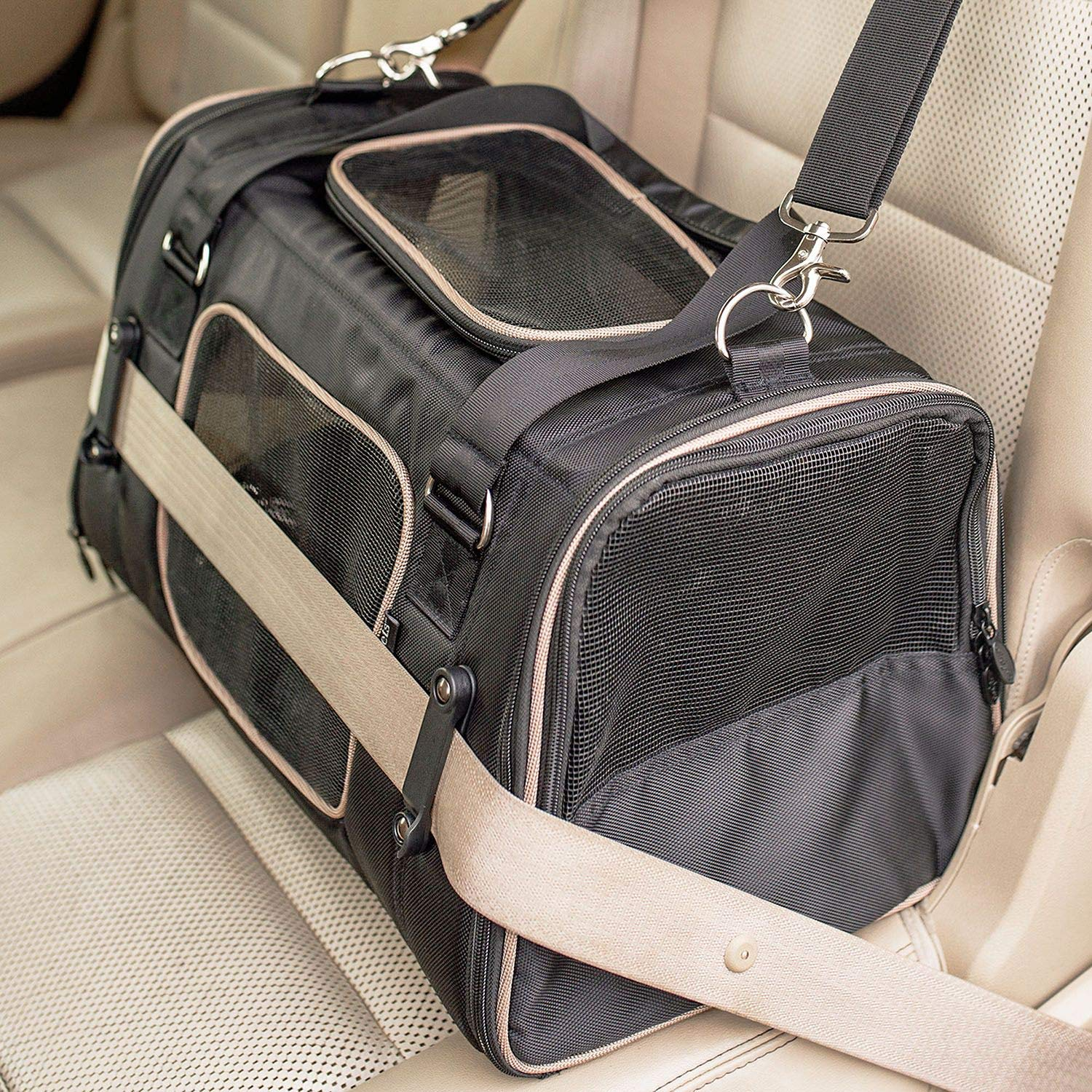 Gen7Pets Commuter Buckle In Car Safety Seat and Shoulder Carrier for Dogs and Cats