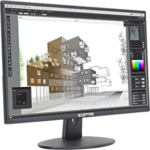 """Sceptre E275W-19203R 27"""" Ultra Thin 1080P LED Monitor 2X HDMI VGA Build-In Speakers, Metallic Black 2018"""