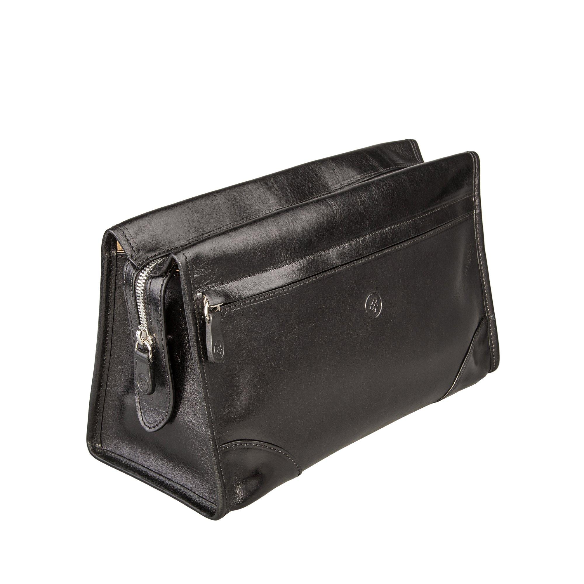 Maxwell Scott Maxwell Scott Luxury Black Leather Dopp Kit (The Tanta) - One Size