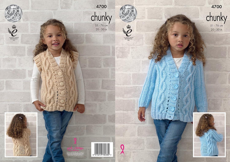 Amazon King Cole 4700 Knitting Pattern Girls Cardigan