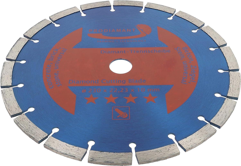 PRODIAMANT Disco de corte de diamante 230 x 22,2 mm, 10 mm, larga duraci/ón, para hormig/ón, piedra, ladrillo, disco de diamante universal, 230 mm