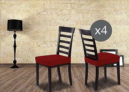 Coprisedia Seduta SUBITO Fatto Universale per Sedia Cucina e Sala da Pranzo  x 2 ex 4 in 16 Colori (Bordeaux, 4)