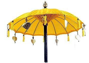 Guru-Shop Paraguas Ceremonial, Paraguas Decorativo Asiático - Amarillo, Quitasoles