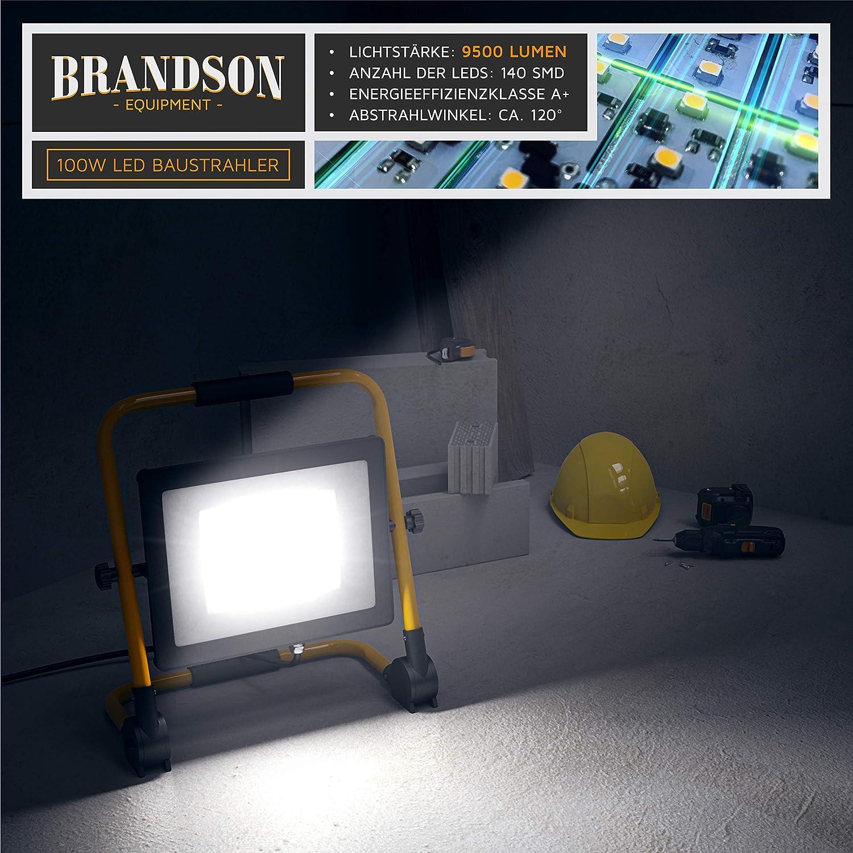 4 m Stromkabel 100 Watt LED Baustrahler Metallgeh/äuse IP65 Standgestell und Tragegriff Brandson 140 SMD LEDs Bauscheinwerfer Arbeitsscheinwerfer 9500 Lumen