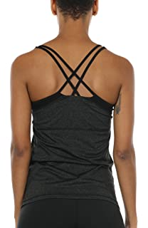 901ea8def3 icyzone Women Workout Yoga Spaghetti Strap Racerback Tank Top with Built in  Bra