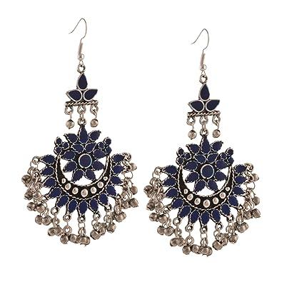 73ce9b08a Buy Zephyrr Blue Oxidized Silver Afghani Tribal Dangler Earring For ...