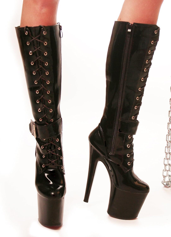 af9dc8c004920f RUBY-FASHION Sexy Extrem Hohe Plateau High Heels Lack Stiefel GoGo  Kniestiefel Lackstiefel Boots   Schwarz   Größe 38  Amazon.de  Schuhe    Handtaschen