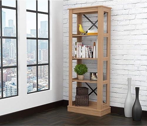 Inval Brown Amaretto Wood 4 Shelf Bookcase