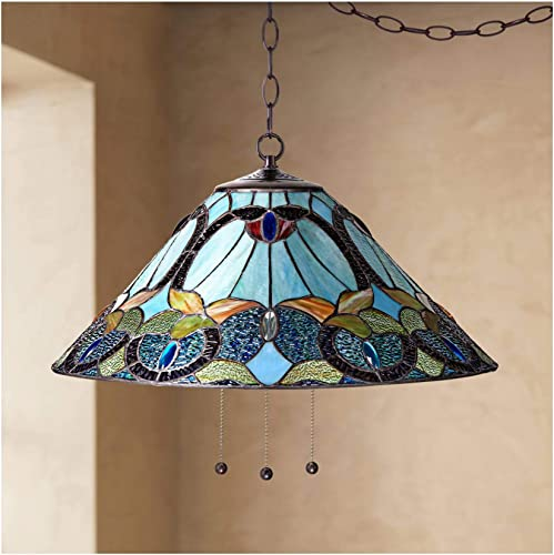Harvest Bronze Tiffany Plug in Swag Pendant Chandelier 20 1 2 Wide Art Glass Fixture for Dining Room House Foyer Kitchen Island Entryway Bedroom Living Room – Robert Louis Tiffany