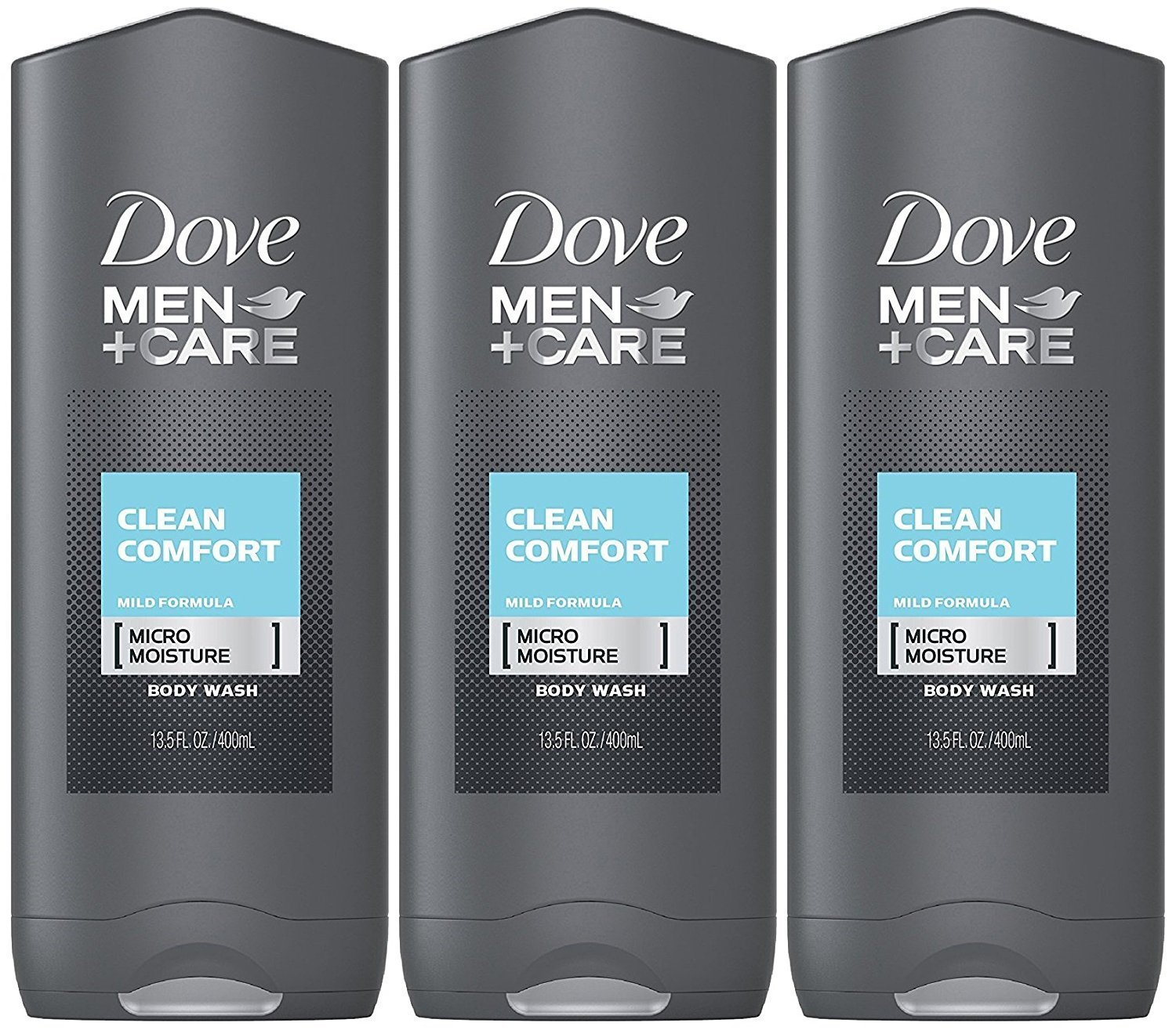 Dove Men + Care Body & Face Wash, Clean Comfort 13.50 Oz (Pack Of 3), 2.16 Lb