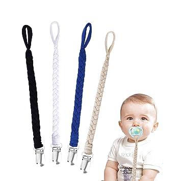 Cadenas para Chupetes 4 Pieza Trenzado Hecho a Mano con Abrazadera Clip para Bebé Infante Niños y Niñas #2