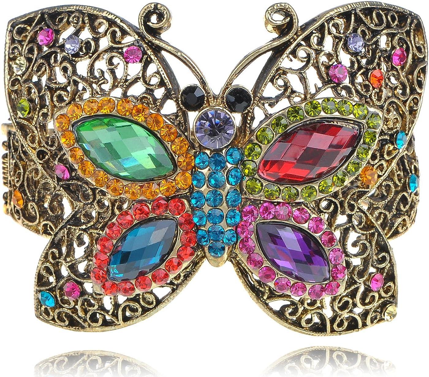 Alilang–antiguo tono de oro multicolor brillantes pulsera en forma de mariposa