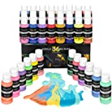 Magicfly 36 Colors Acrylic Pouring Paint (60ml/2oz Bottles), Pre-Mixed High Flow Liquid Acrylic Paint with 5 White Paint…