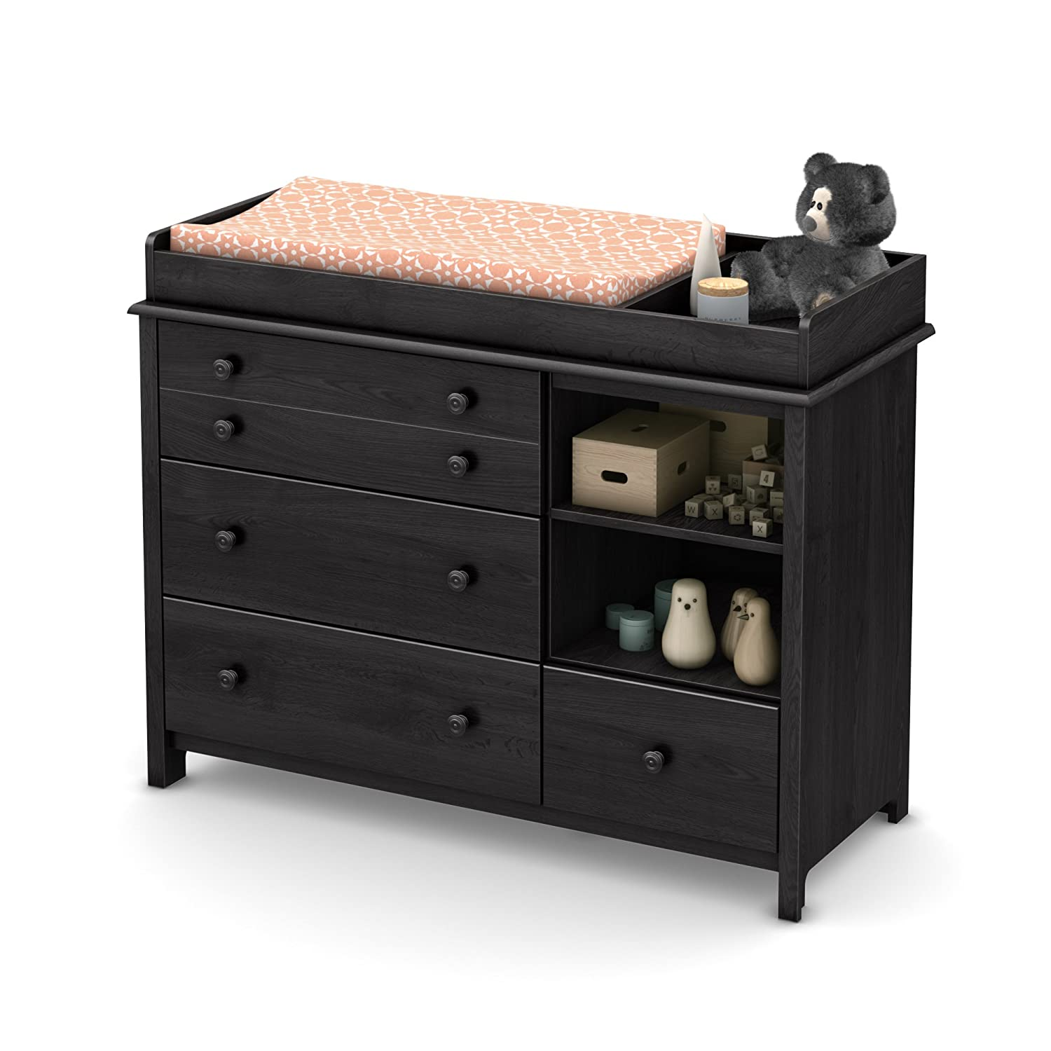 South Shore Convertible Changing Table with Storage Drawers and Removable Changing Station, Espresso 3759337