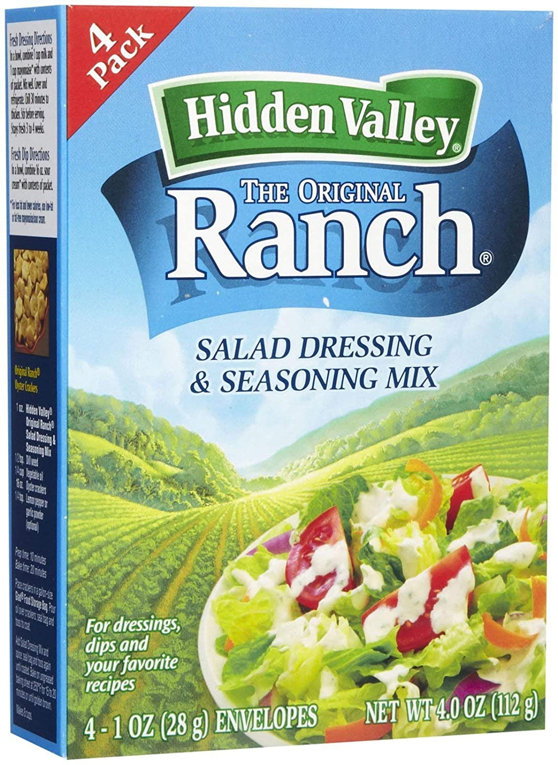 Hidden Valley Original Ranch Salad Dressing Seasoning Mix Gluten Free Keto Friendly 4 Packets Package May Vary 0 35 Oz Pack Of 4 Set Of 3 Amazon Com Grocery Gourmet Food