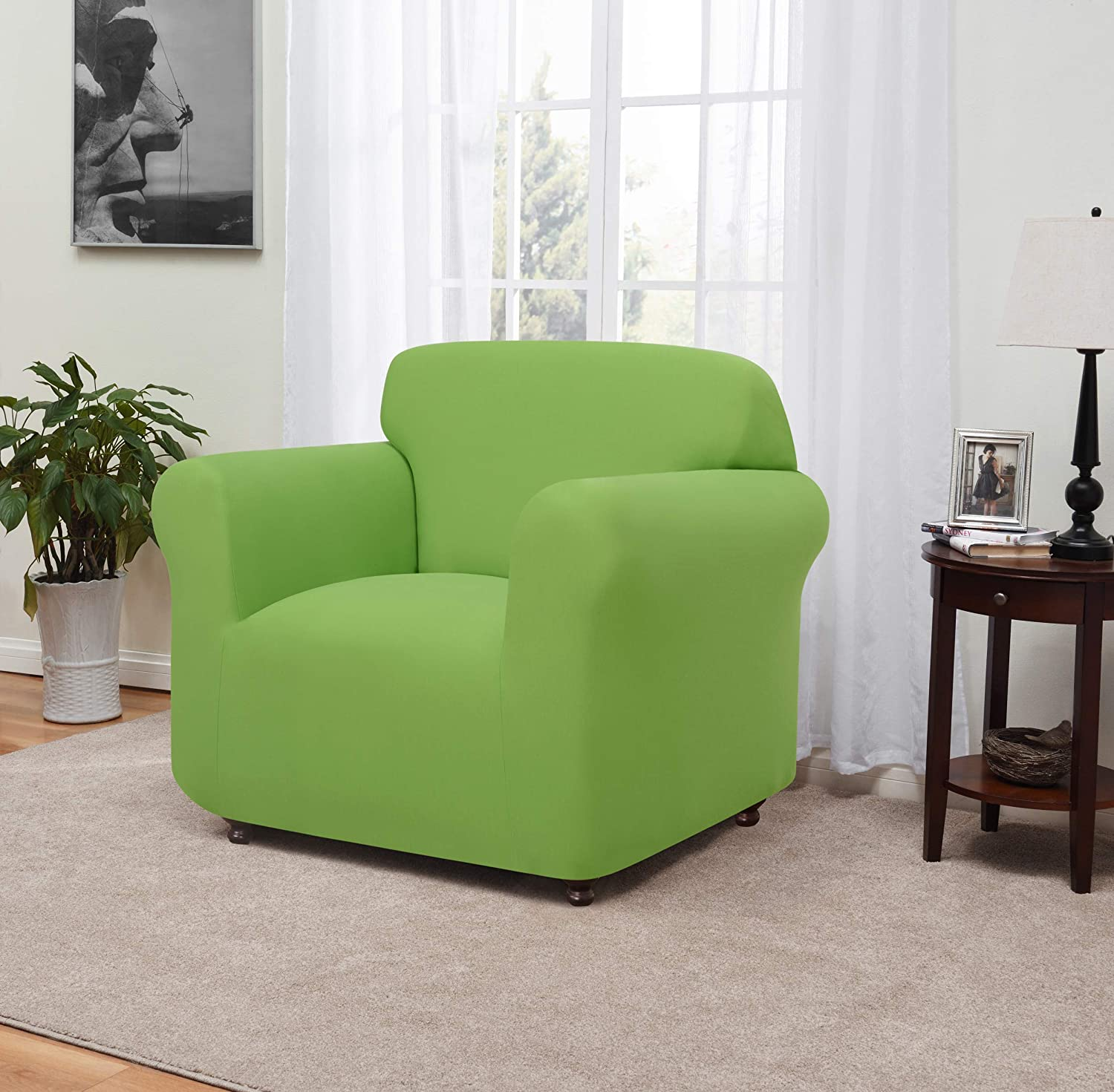 Madison Stretch Jersey Lime Chair Slipcover, Solid