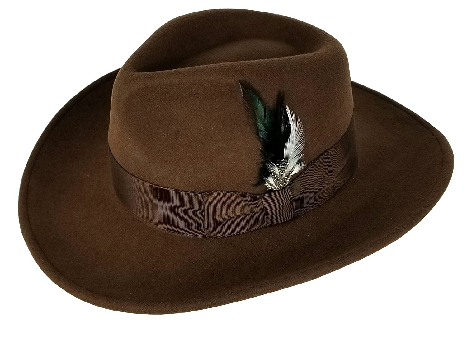 f691553db01 Different Touch Men s 100% Soft   Crushable Wool Felt Indiana Jones Style Cowboy  Fedora Hats HE01 at Amazon Men s Clothing store