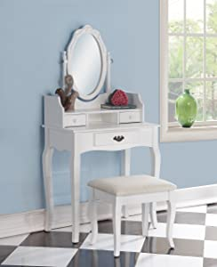 Roundhill Furniture Ribbon Wood Make-Up Vanity Table and Stool Set, White