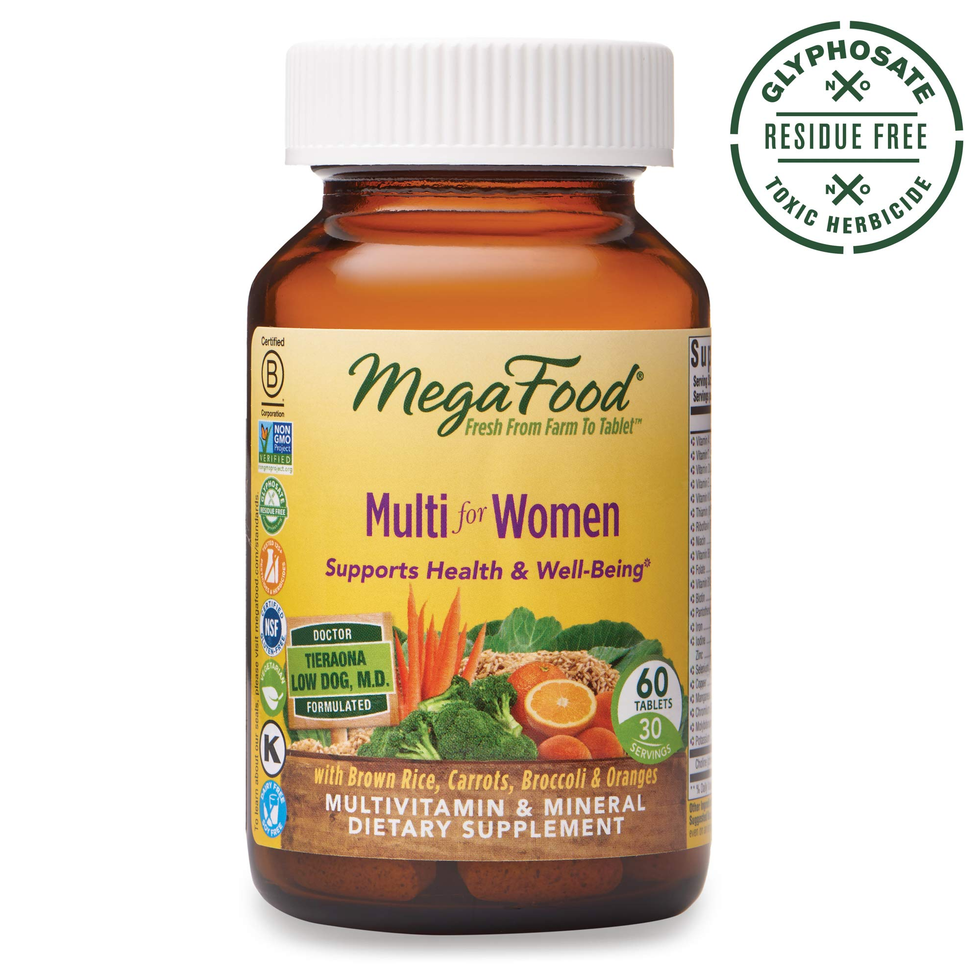 MegaFood, Multi for Women, Supports Optimal Health and Wellbeing, Multivitamin and Mineral Dietary Supplement, Gluten Free, Vegetarian, 60 Tablets (30 Servings) by MegaFood