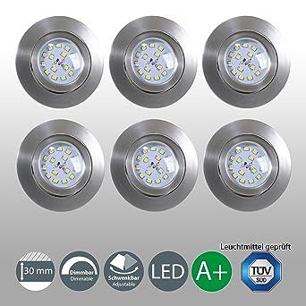 LED Einbaustrahler Dimmbar Schwenkbar Ultra Flach 6er Set Inkl. 6 x ...