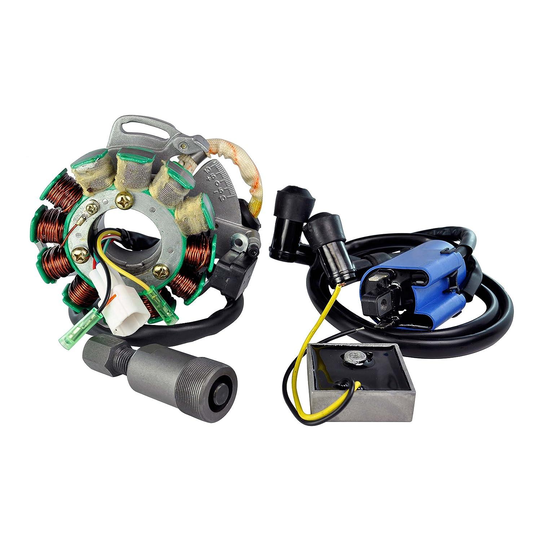 Kit Stator 200 W + Regulator Rectifier + Ignition Coil + Flywheel Puller For Yamaha YFZ 350 Banshee 1995-2006 OEM Repl.# 3GG-85510-00-00 3GG-85510-01-00 8H4-81910-50-00 82F-81910-A0-00 898-81910-10-00 RMSTATOR