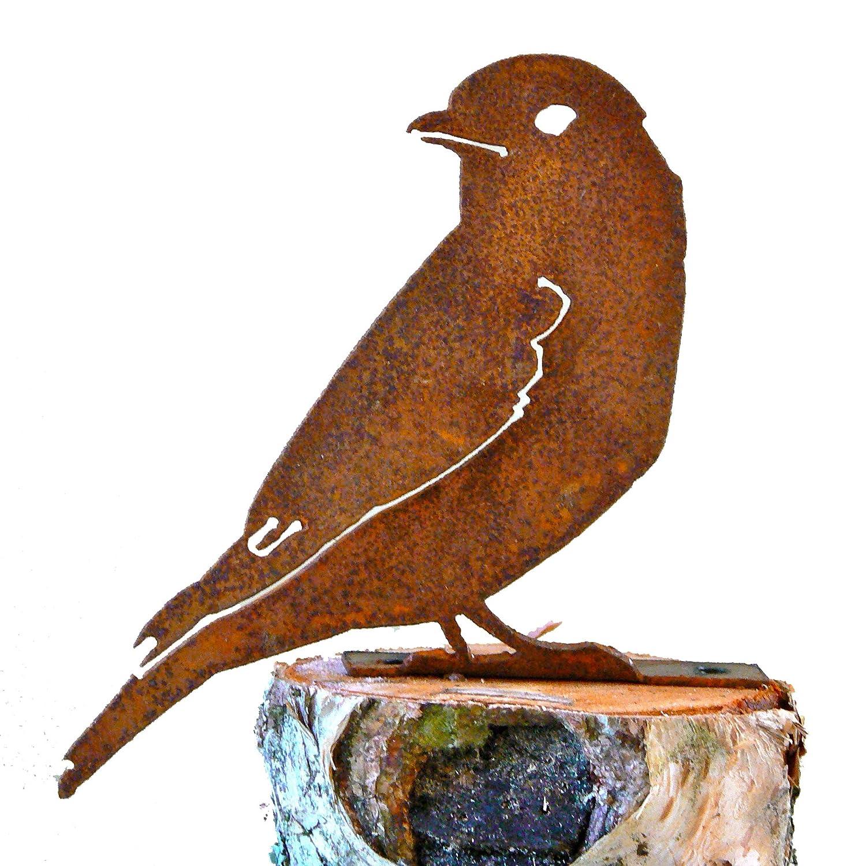 Elegant Garden Design Bluebird, Steel Silhouette with Rusty Patina