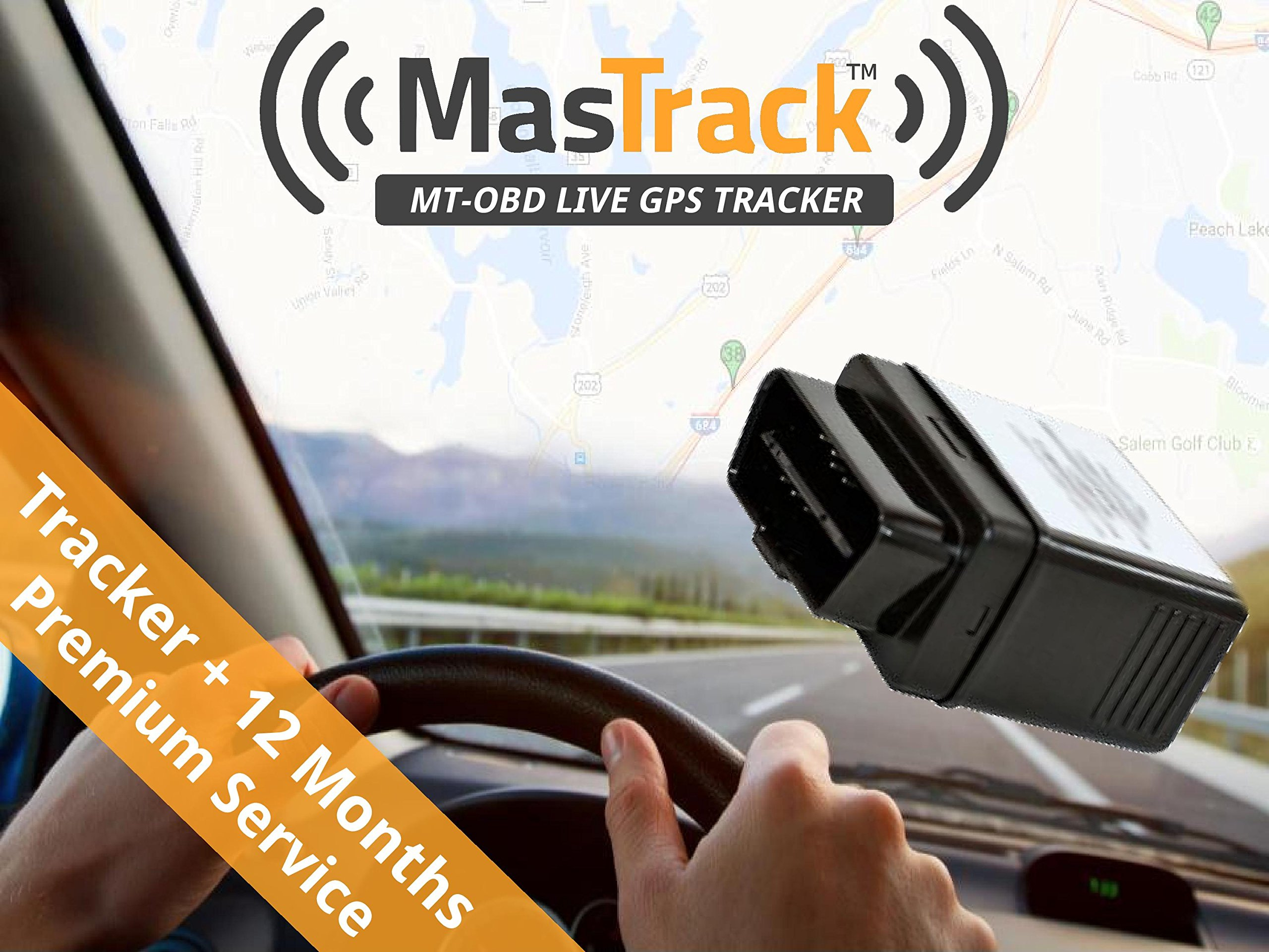 MasTrack OBD Real Time GPS Vehicle Tracker with 12 Months of Premium Service by MasTrack
