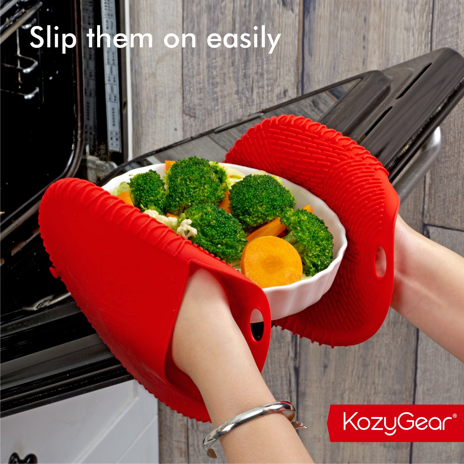 KozyGear Premium 442 °F Heat Resistant Silicone Glove Holder/Oven Mitt Pair Set for Hot Pot [Z4 Series] (RED) by KozyGear (Image #6)